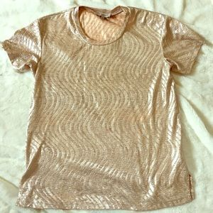 june and hudson brand, gold metallic top.